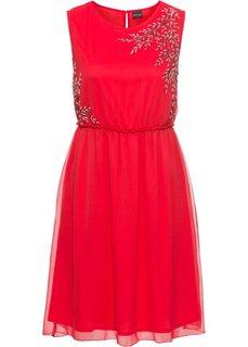Платье с аппликацией из бусин (красный) Bonprix