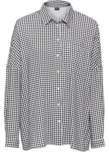 Блузка с принтом (черный/белый в клетку)