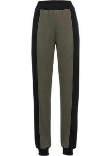 Трикотажные брюки (оливковый/черный) Bonprix