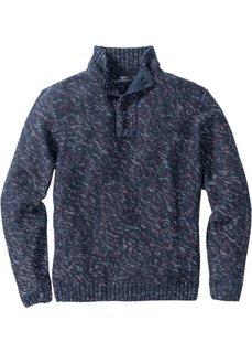 Меланжевый пуловер Regular Fit с высоким воротом на молнии (темно-синий/темно-красный/белый меланж) Bonprix