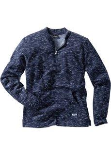 Меланжевый свитшот Regular Fit с воротником-стойкой (синий меланж) Bonprix