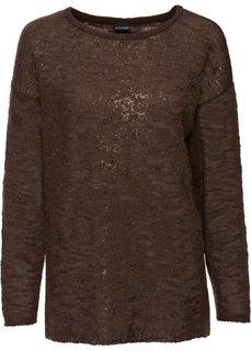 Вязаный пуловер с блестящим принтом (темно-коричневый/бронзовый) Bonprix