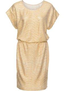 Трикотажное платье с металлическим отливом (золотистый) Bonprix