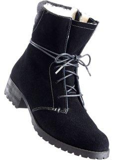 Замшевые ботинки на шнурках (черный) Bonprix