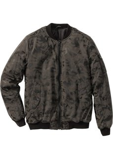 Куртка Regular Fit из искусственной кожи (черный/серый камуфляжный) Bonprix