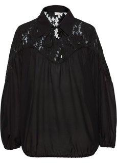 Блузка с воротником (черный) Bonprix
