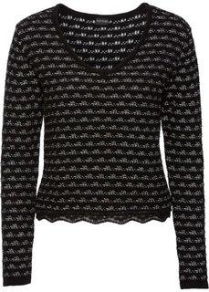 Пуловер со вставкой под блузку (черный/цвет белой шерсти) Bonprix