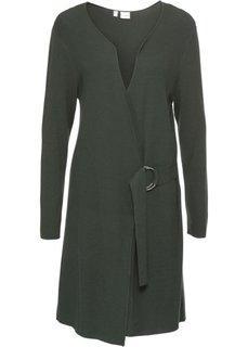 Вязаное пальто с поясом (темно-зеленый) Bonprix