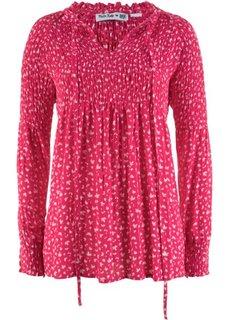 Туника с длинным рукавом дизайна Maite Kelly (ярко-розовый гибискус/нежно-розовый) Bonprix