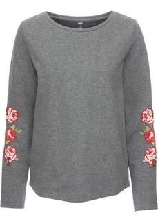 Свитшот с цветочным принтом (серый меланж) Bonprix