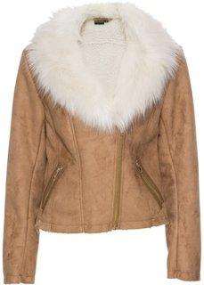 Куртка из искусственной замши с искусственным мехом (коньячный) Bonprix