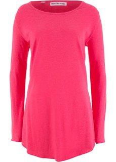 Футболка с длинным рукавом и асимметричным низом − дизайн от Maite Kelly (ярко-розовый меланж) Bonprix