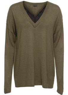 Пуловер с кружевной отделкой (темно-оливковый меланж) Bonprix