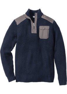 Пуловер Regular Fit своротником-стойкой (темно-синий) Bonprix