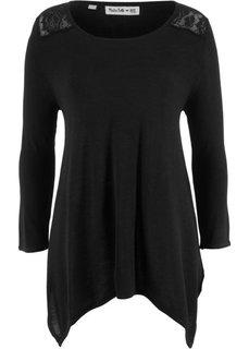 Пуловер с удлиненными боками и рукавом 3/4, дизайн Maite Kelly (черный) Bonprix