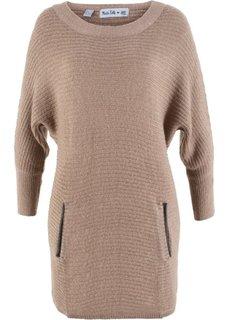 Структурный пуловер дизайна Maite Kelly с рукавом 3/4 (серо-коричневый) Bonprix