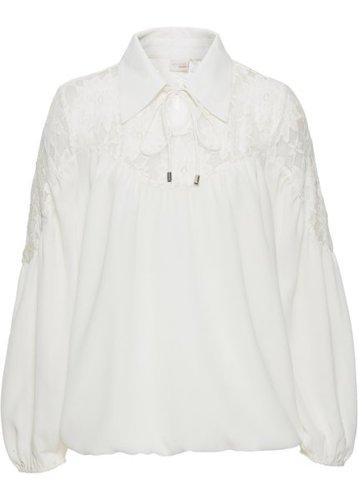 Блузка с воротником (белый)