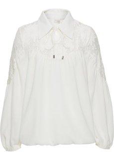 Блузка с воротником (белый) Bonprix