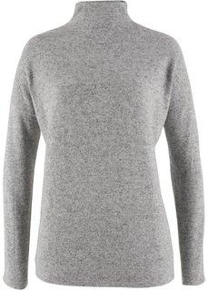 Флисовый пуловер в стиле оверсайз (светло-серый меланж) Bonprix