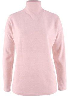 Флисовый пуловер в стиле оверсайз (нежно-розовый меланж) Bonprix