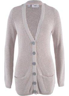 Вязаный кардиган с карманами (светло-серый меланж с узором) Bonprix
