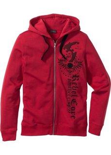 Трикотажная куртка Slim Fit с капюшоном (темно-красный) Bonprix