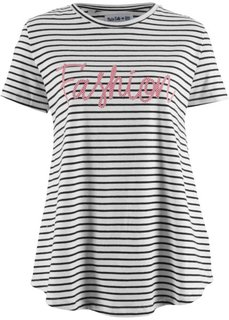 Полосатая футболка с принтом и рукавом 1/2, дизайн Maite Kelly (черный/белый в полоску) Bonprix