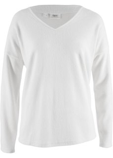 Флисовый пуловер с V-образным вырезом (кремовый) Bonprix