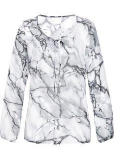 Удлиненная блузка (белый/серебристо-серый с рисунком) Bonprix