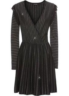 Вязаное платье с люрексом (черный/золотистый в полоску) Bonprix