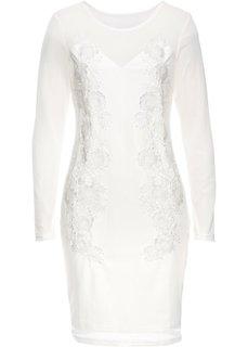 Платье в сеточку с кружевной отделкой (кремовый) Bonprix