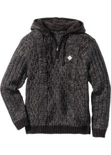 Пуловер Slim Fit с капюшоном (серый меланж) Bonprix