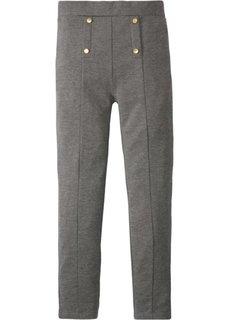 Стрейтчевые брюки с декоративными пуговицами (серый меланж) Bonprix