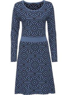 Вязаное платье (синий/черный с узором) Bonprix