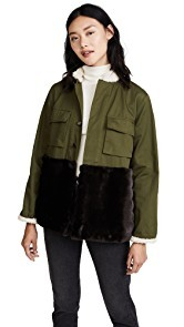 Harvey Faircloth Field Jacket with Faux Fur & Shearling Trim