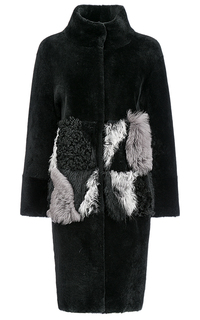 Шуба из овчины с кожаной отделкой Virtuale Fur Collection