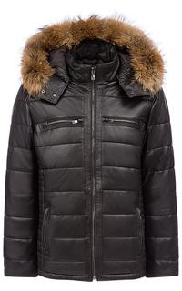 Кожаная куртка на синтепоне с отделкой мехом енота Jorg Weber