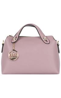 Розовая кожаная сумка с брелком La Reine Blanche