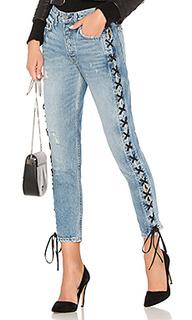 Прямые джинсы с высокой посадкой и шнуровкой karolina - GRLFRND