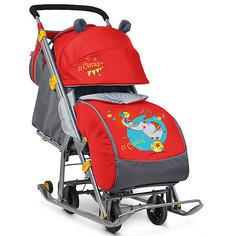 Санки-коляска Ника детям  7, Девочка и слон, красный/серый Nika