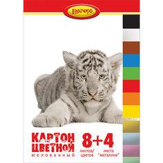 """Цветной картон А4 """"Хищники"""", 12 листов Limpopo"""