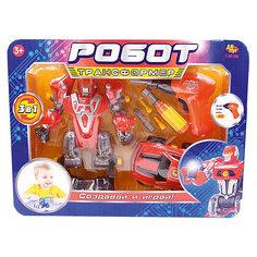 """Робот-трансформер 3 в 1 Abtoys """"Создавай и играй"""" с инструментами, красный"""