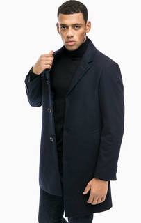 Синее классическое пальто из шерсти Pierre Cardin