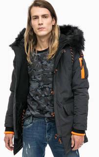 Серая утепленная куртка с капюшоном Superdry
