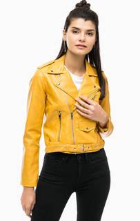 Желтая куртка косуха с ремнем Alcott