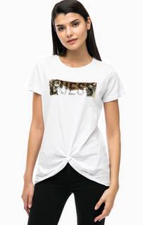 Хлопковая футболка с отделкой пайетками Guess