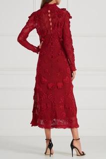 Хлопковое платье с вязаным декором Valentino