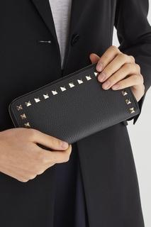 Кожаное портмоне с заклепками Valentino