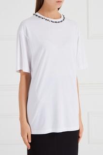 Белая футболка с декорированным вырезом No.21