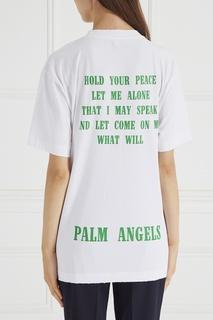 Белая футболка с надписью Palm Angels